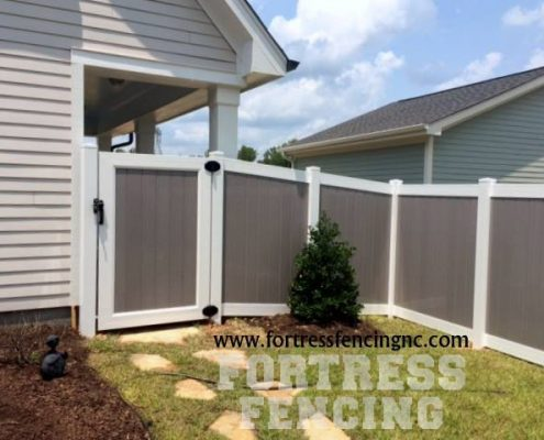 custom - Two-tone Vinyl Privacy Fence and Gate