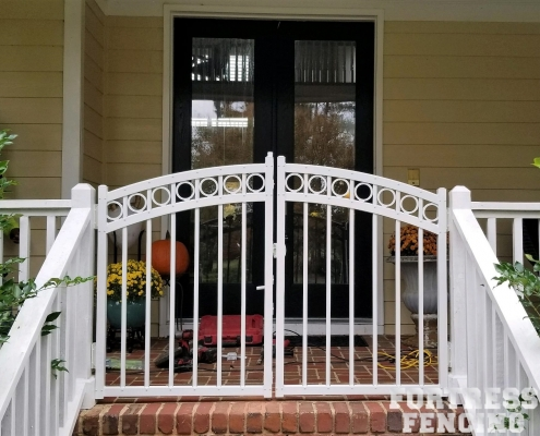 White Aluminum Porch Gate with Rings