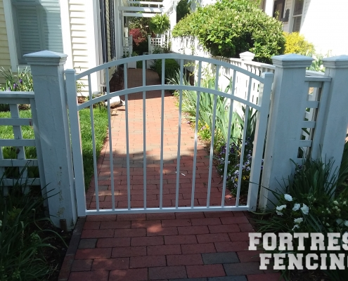 White Arched Aluminum Gate